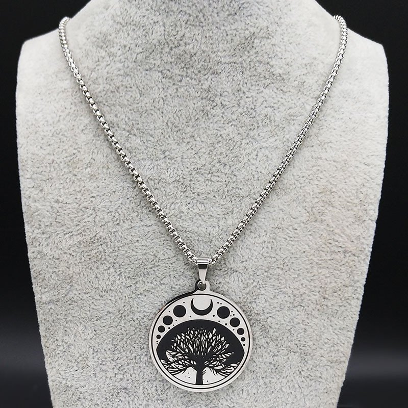 2019 Witchcraft Moon Sun Stainless Steel Necklaces Women Tree of Life Silver Color Statement Necklace Jewelry colgantes N19833
