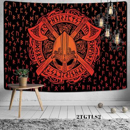 Simsant Viking Raven Tapestry Mysterious Viking Meditation Psychedelic Runes Art Wall Hanging Tapestries for Living Room Decor
