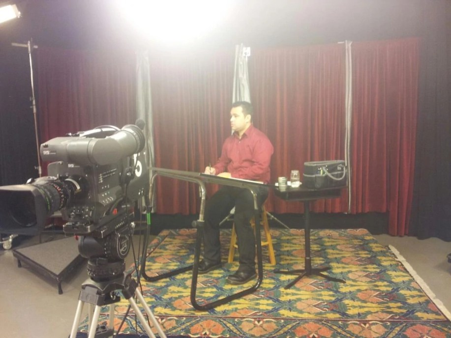 Behind the scenes of the AM Northwest interview.