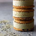 Matcha Ice Cream Sandwiches with Sesame Tahini Cookies