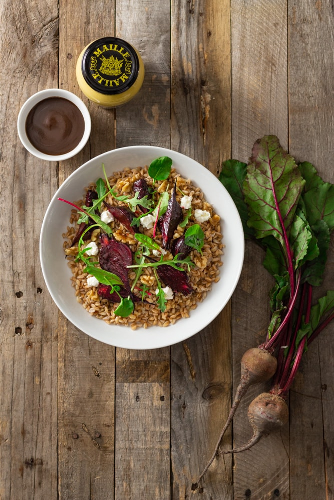 Farro, Beets and Goat Cheese with Dijon Balsamic Vinaigrette