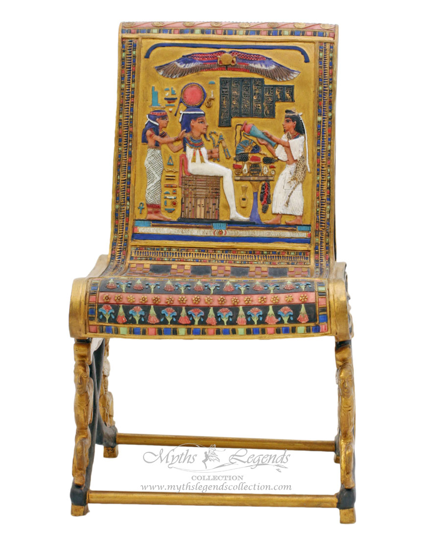 high backed throne chair portable reclining miniature egyptian queen's – myths & legends collection