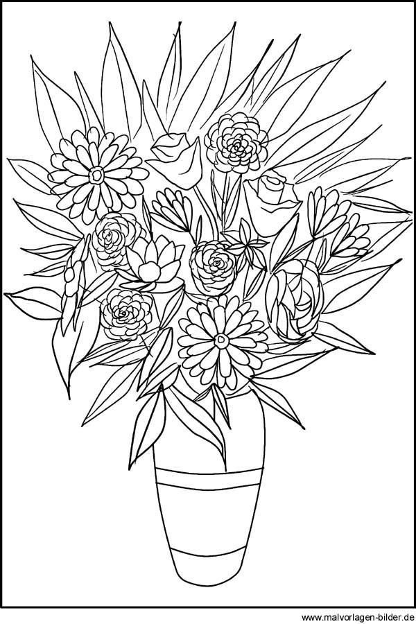 20 Der Besten Ideen Für Ausmalbilder Blumenstrauß Mit Vase