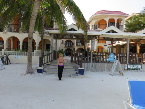 Me walking to our hotel, the Sunbreeze Suites.