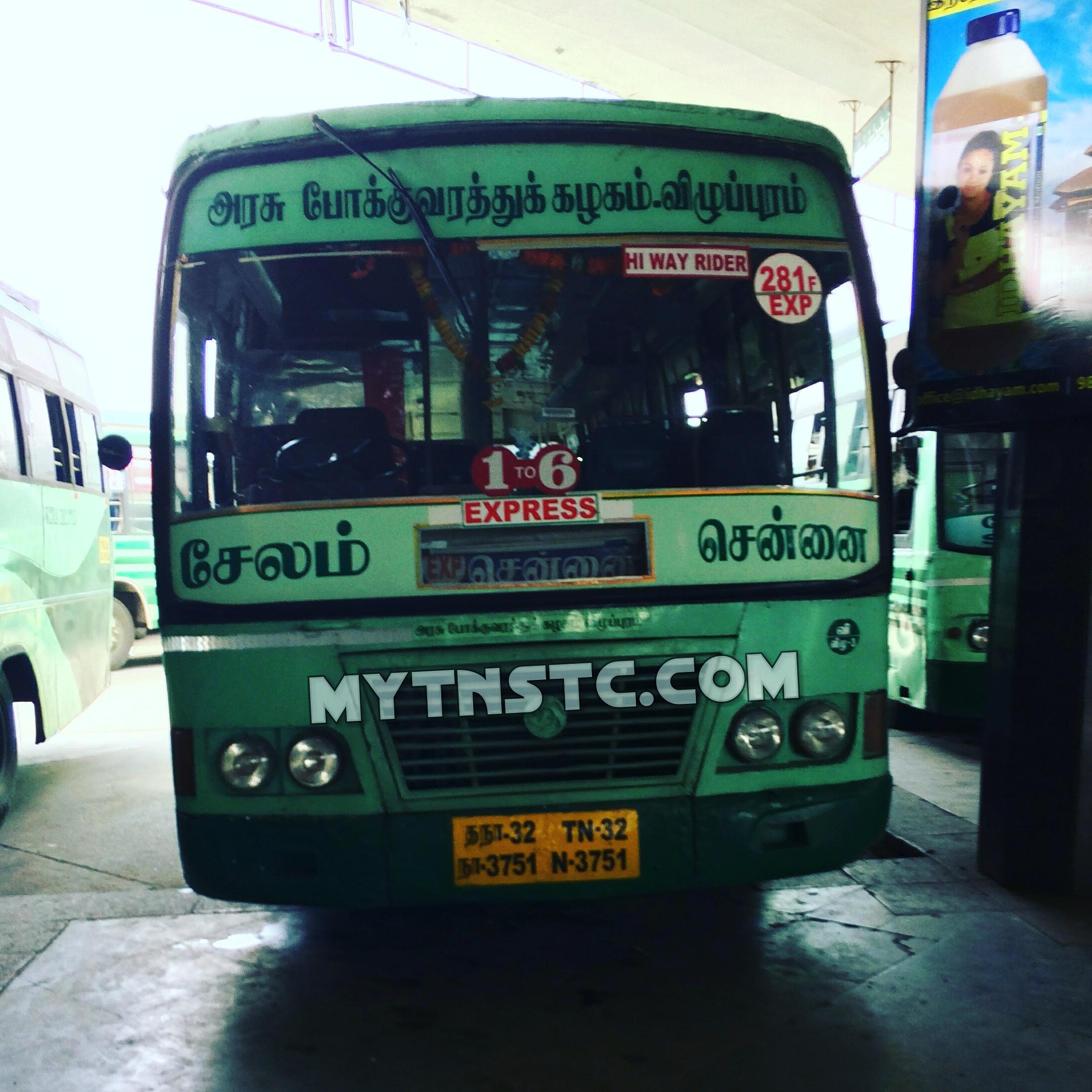 TNSTC Chennai to Salem TN 32 N 3751