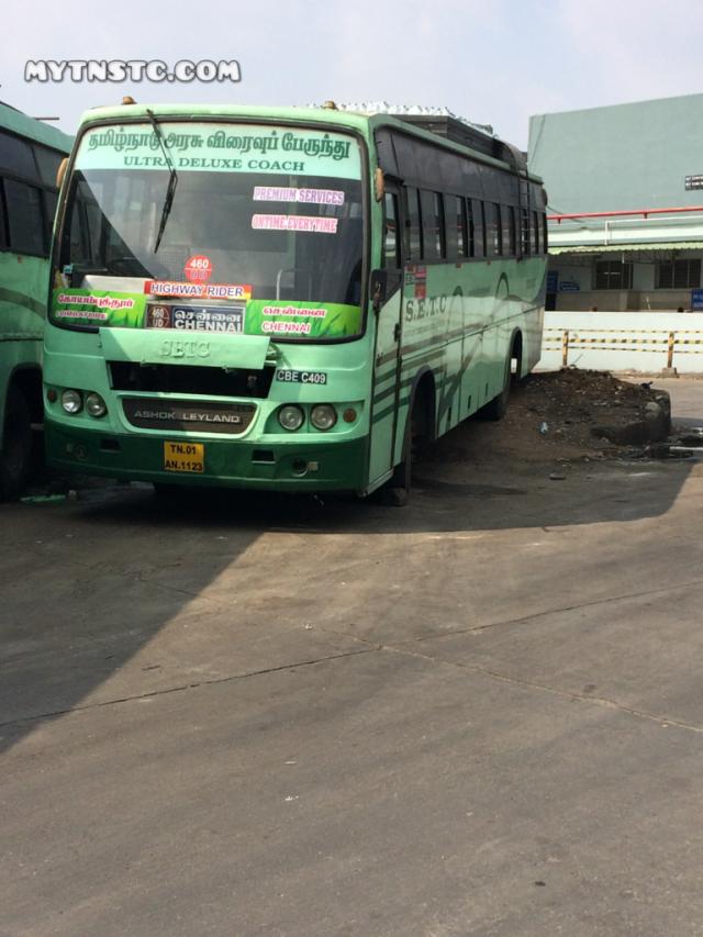 Coimbatore To Chennai Non AC Coach TN 01 AN 1123 SETC