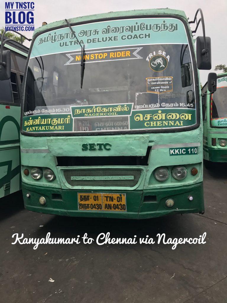 Kanyakumari to Chennai SETC Bus Service TriSea Special A282