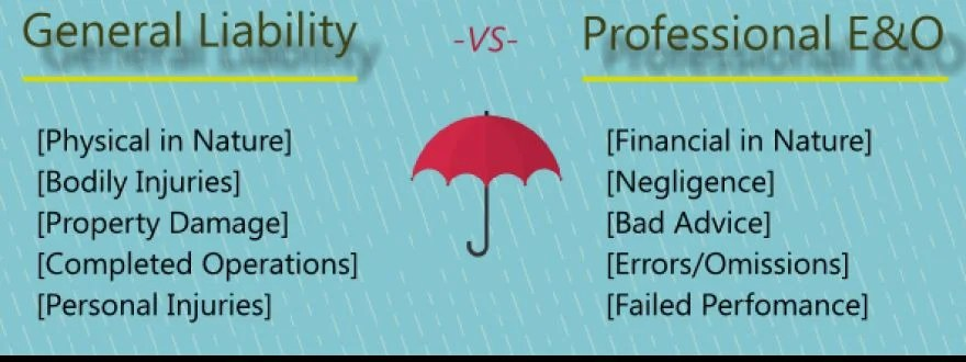 Table showing the difference between general liability insurance and professional liability insurance
