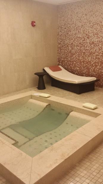 Green tea infused pool & lounge area in ladies change room