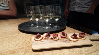 Sampling wine and treats at Tournebroche