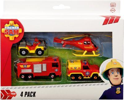 Feuerwehrmann Sam Feuerwehrautos 4er Pack mit Hubschrauber