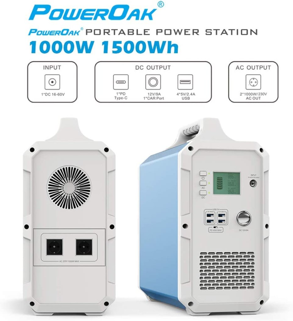 Anschluesse der PowerOak 1500 Wh Powerstation