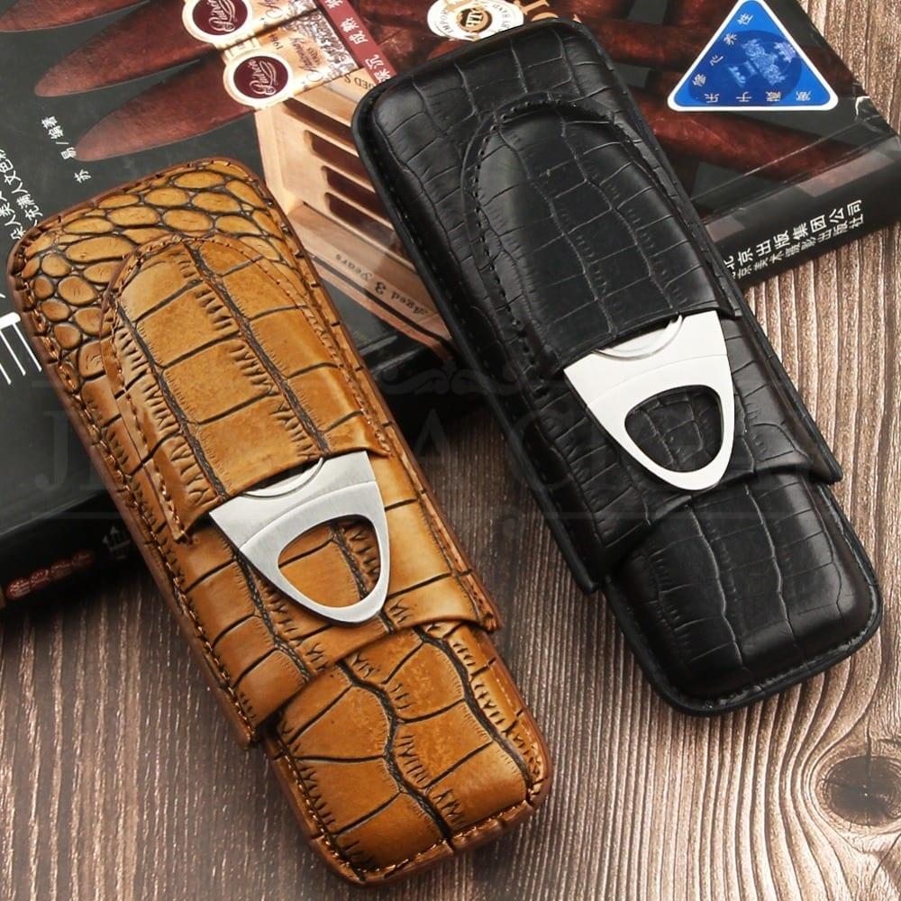 f9ea2d2bc481 Black Crocodile Leather Cigar Case W/ Stainless Cigar