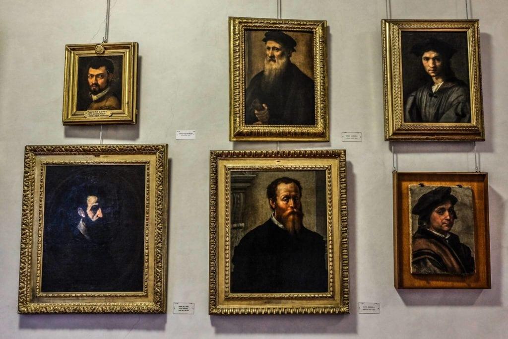 Paintings along the Vasari Corridor Florence