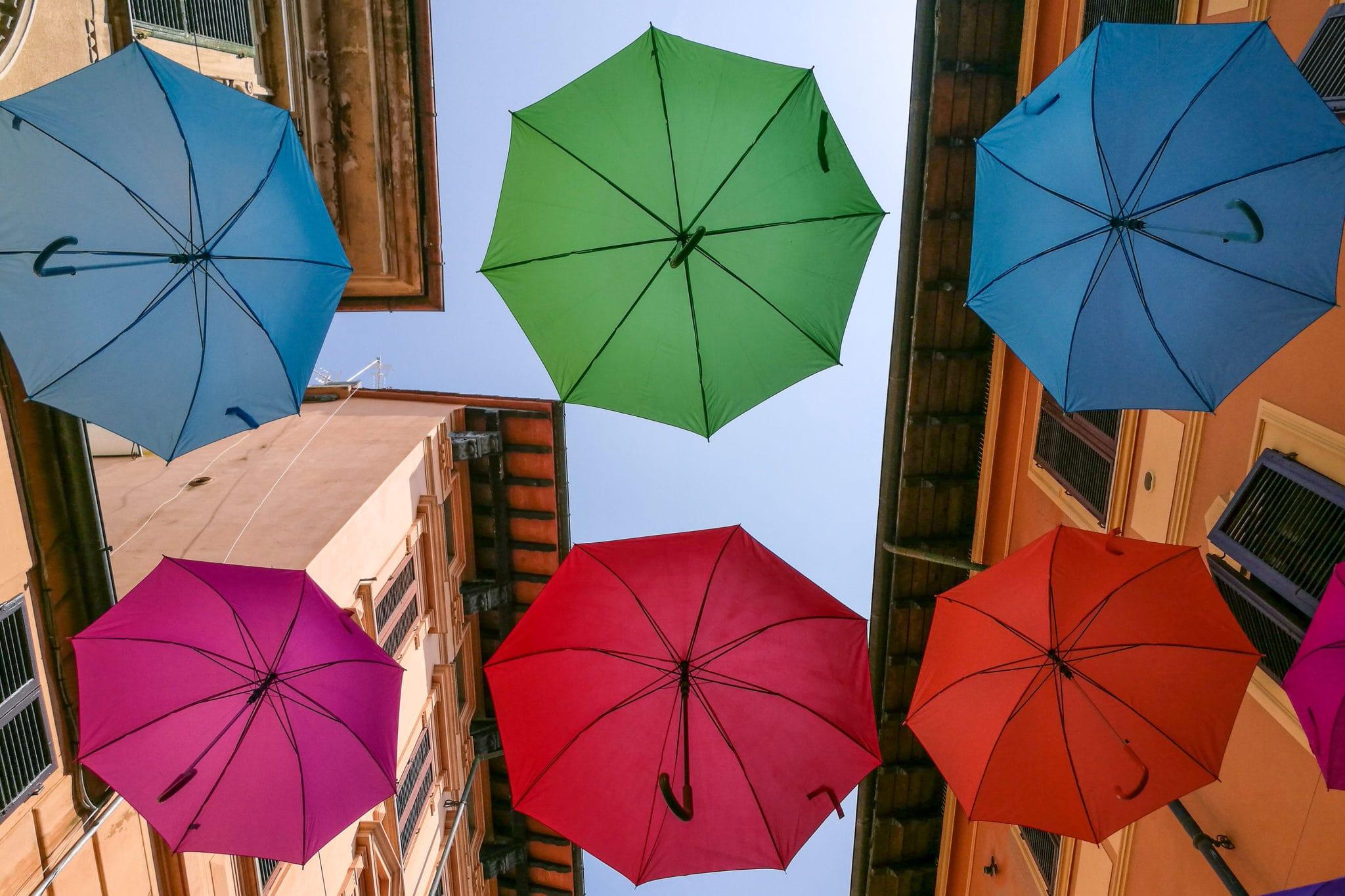 the colored umbrellas of Pietrasanta