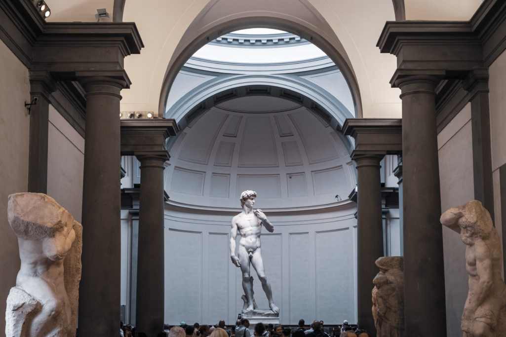 Michelangelo's David from the corridor of the Galleria dell'Accademia
