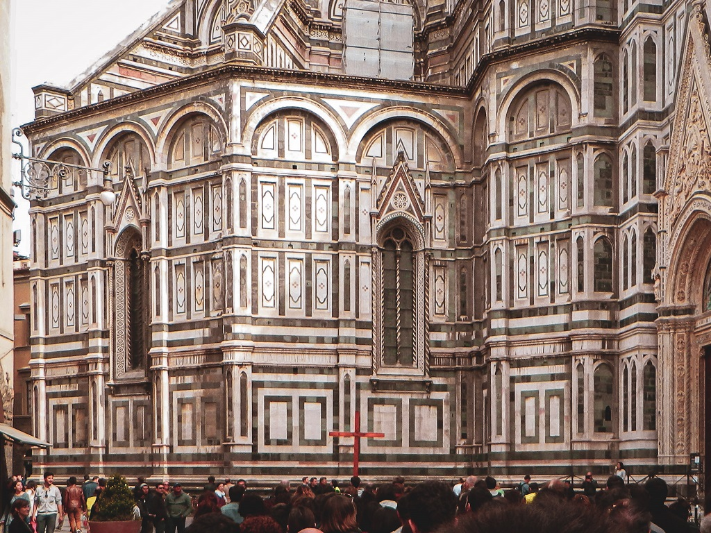 Procession of Good Friday in Florence in front of the Duomo
