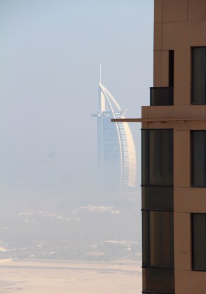To the right, Burj al Arab in the morning mist...