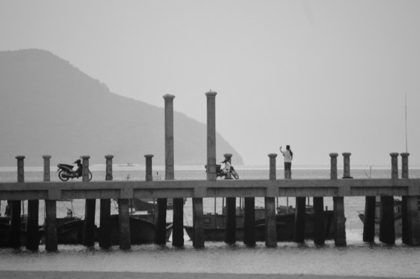 Contrast of the pier at Con Dao, Vietnam against a hazy background....