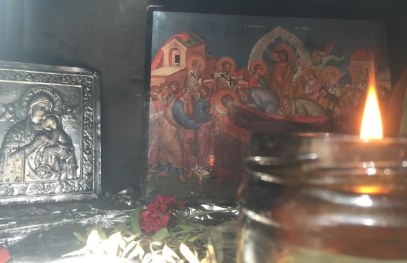 and through another window, Panayia and Jesus....