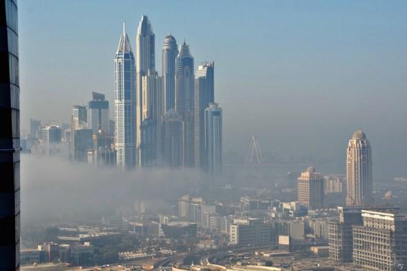 Dubai morning mist over the Marina...