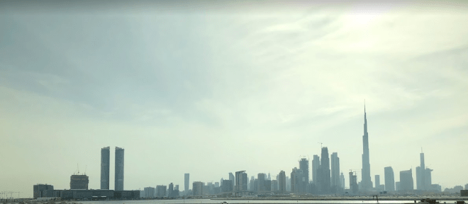View of city while going to desert