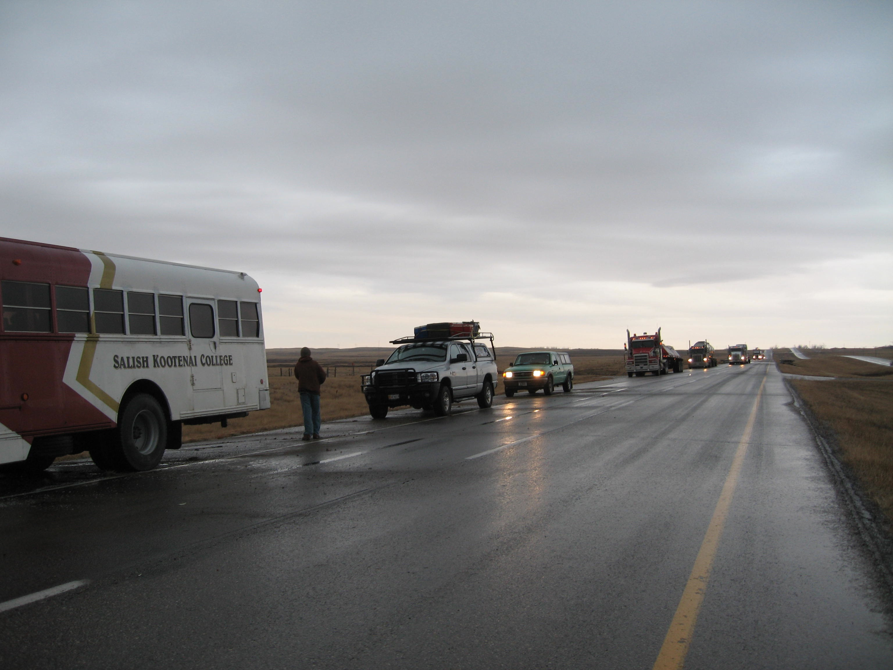 Stranded on the side of the icy highway
