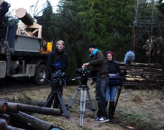 From left; Bjorn Bratberg, B-camera operator Ben Jones and sound recordist Sara Lima