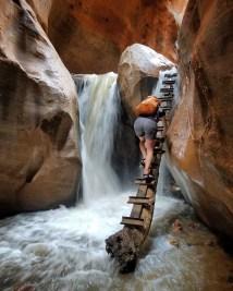Me climbing the ladder at Kanarraville Falls