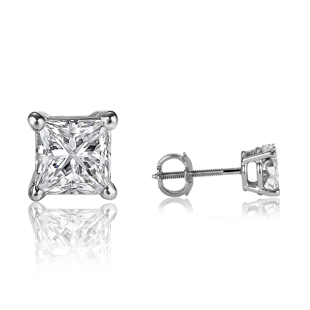 1 2 Carat Princess Cut Diamond Earrings Actual Size