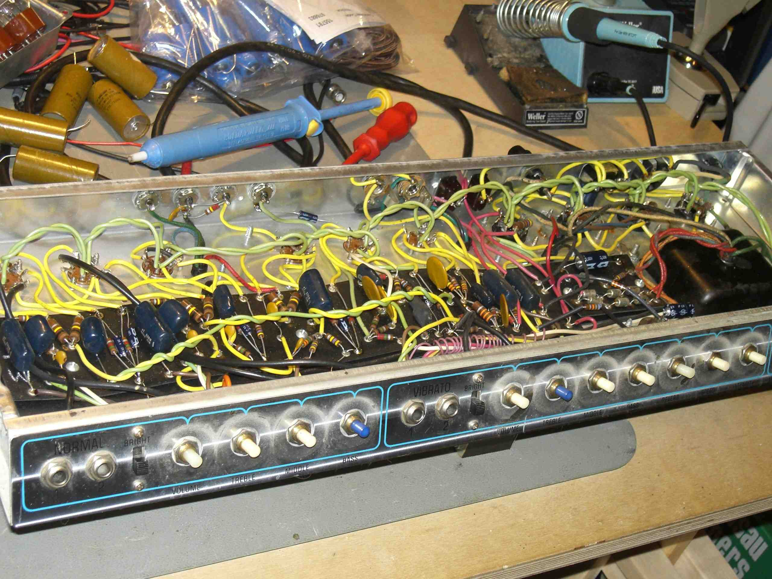 Sloppier hand wiring is a hallmark of later twins, but they can still sound nice if biased correctly.  Most master-volume era twins I have seen are overbiased - the tubes run cold and sound like it.