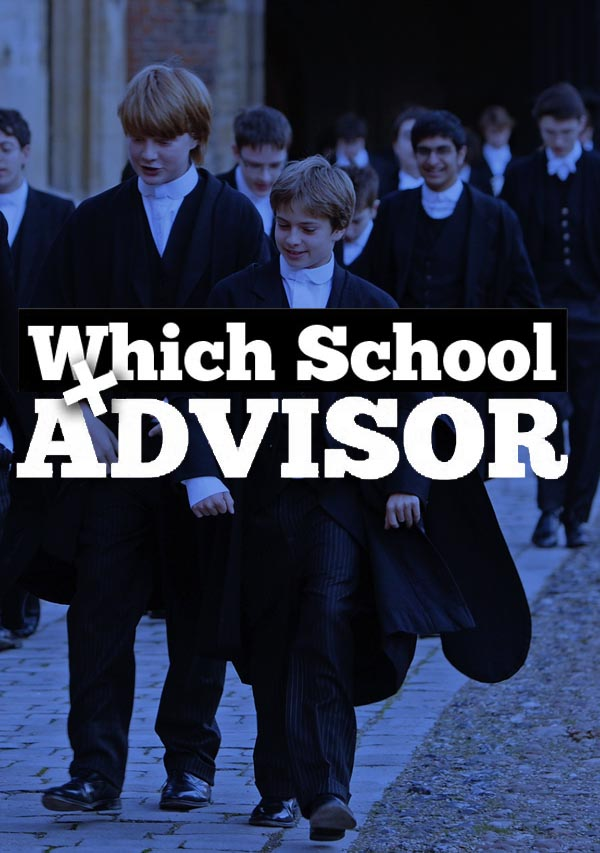 The logo for Which School advisor, showing Cambridge school students in their robes