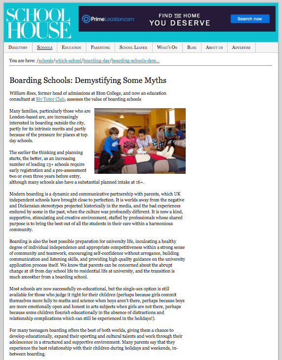 A screenshot of an article from school house magazine looking at boarding school myths