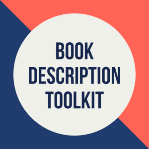 Graphic: Navy, pink, white. Text: Book Description Toolkit