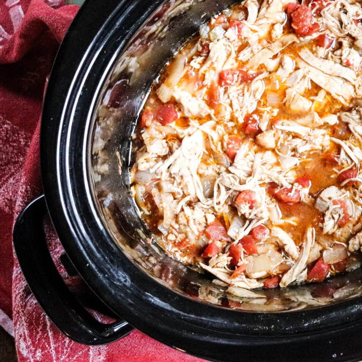 shredded cooked chicken in crockpot