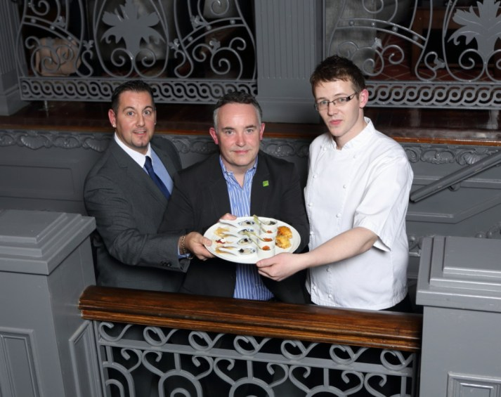 Pictured (L-R) General manager Liam Whiteway, Raymond McArdle and head chef David Mageean.