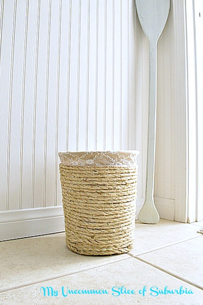 Make A Nautical Trashcan With Rope  My Uncommon Slice of