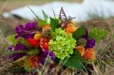 Urban Petals, fall bridal bouquet, green hydrangea, cherry brandy roses, scabiosa, craspedia, purple stock, orange tulips