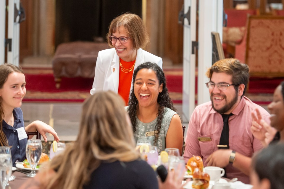 USC President Carol L. Folt speaks and listens to students during the Student Affairs Lunch, July 17, 2019.