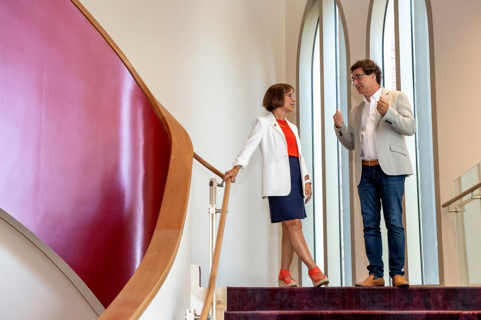 USC President Carol L. Folt is given a tour of the Kaufman School of Dance from dean Robert Cutietta , July 17, 2019.