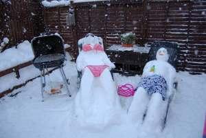 bikini snow couple