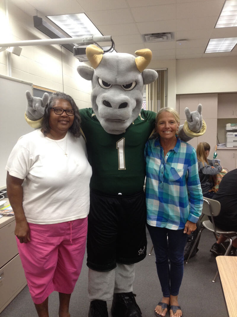 tips on writing your college admissions essay university ophelia fleetwood the usf mascot and buff betz in the career center at sarasota high school