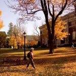 college campus in the fall