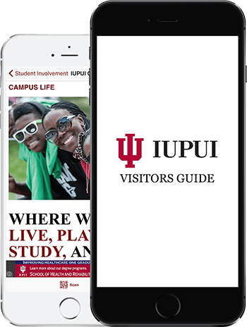 Visit IUPUI App on 2 iPhones