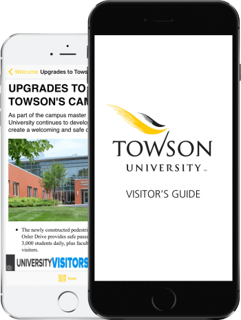 Visit Towson App on 2 iPhones