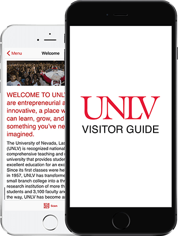 Visit UNLV App on 2 iPhones