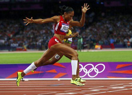 Allyson Felix running at the Olympics
