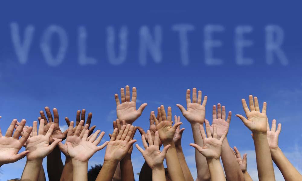 Volunteers raising their hands to help
