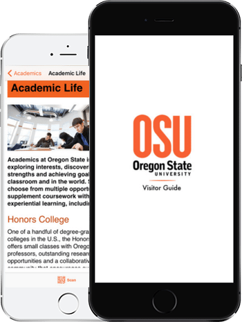 Visit Oregon State App on 2 iPhones