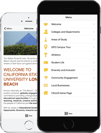 Visit CSULB App on two phones
